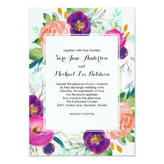 """Boda floral de la acuarela colorida del jardín invitación 5"""" x 7"""""""