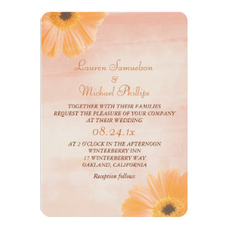 """Boda floral de la acuarela de la mandarina invitación 5"""" x 7"""""""