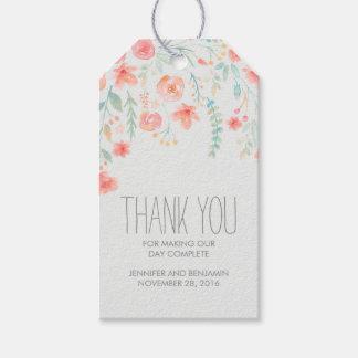 Boda floral de la acuarela etiquetas para regalos