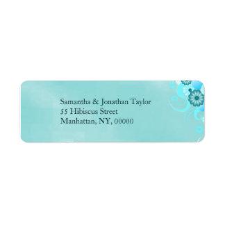 Boda floral de la aguamarina de la turquesa azul etiqueta de remitente