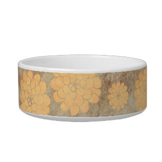 Boda floral de la dalia amarilla del vintage tazones para agua para gatos