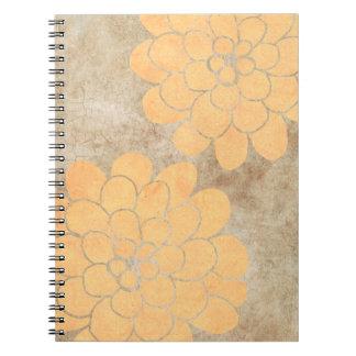 Boda floral de la dalia amarilla limón del vintage libro de apuntes con espiral