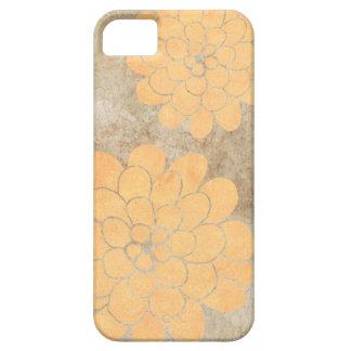 Boda floral de la dalia amarilla limón del vintage iPhone 5 carcasa