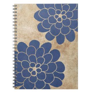 Boda floral de la dalia azul del vintage spiral notebooks