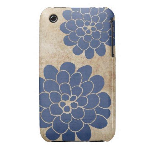 Boda floral de la dalia azul del vintage iPhone 3 cobreturas