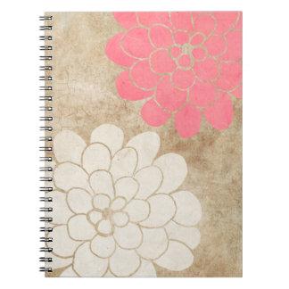 Boda floral de la dalia blanca del vintage cuaderno
