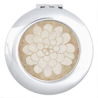 Boda floral de la dalia blanca del vintage espejo de viaje