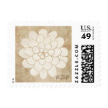 Boda floral de la dalia blanca del vintage sello