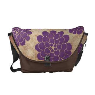 Boda floral de la dalia púrpura del vintage bolsa messenger