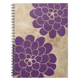 Boda floral de la dalia púrpura del vintage note book