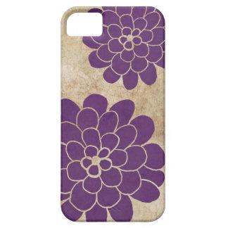 Boda floral de la dalia púrpura del vintage iPhone 5 carcasas