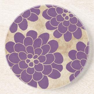 Boda floral de la dalia púrpura del vintage posavasos personalizados