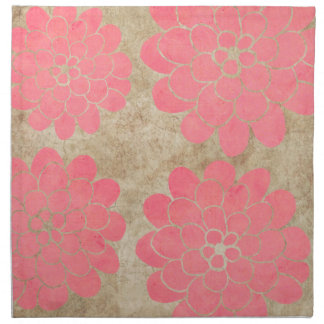 Boda floral de la dalia rosada del vintage servilleta de papel