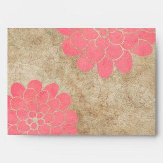 Boda floral de la dalia rosada del vintage sobre