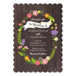 Boda floral de la guirnalda del arbolado invitación 12,7 x 17,8 cm