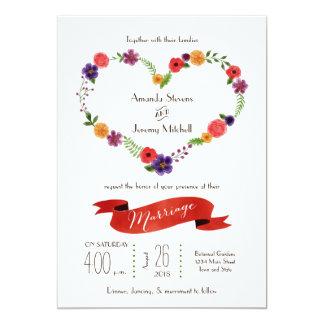 """Boda floral de la guirnalda del corazón de la invitación 5"""" x 7"""""""