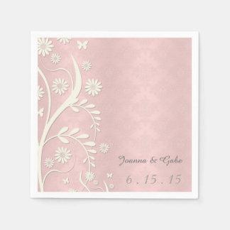 Boda floral de la margarita blanca rosada del servilleta desechable