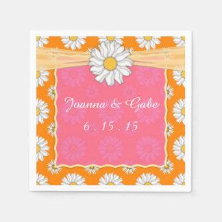 Boda floral de la margarita rosada anaranjada del servilleta desechable