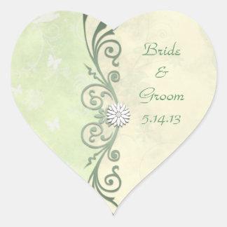 Boda floral de la primavera de la verde lima y del colcomanias corazon personalizadas