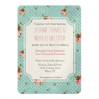 """Boda floral de los lunares azules rosados invitación 5"""" x 7"""""""