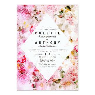 """Boda floral de los rosas rosados elegantes de la invitación 5"""" x 7"""""""