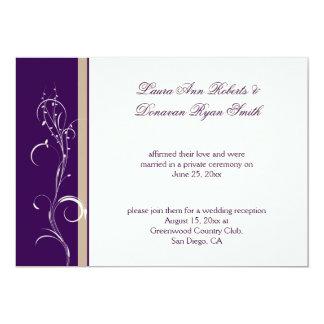 """Boda floral de marfil de color caqui púrpura del invitación 5"""" x 7"""""""