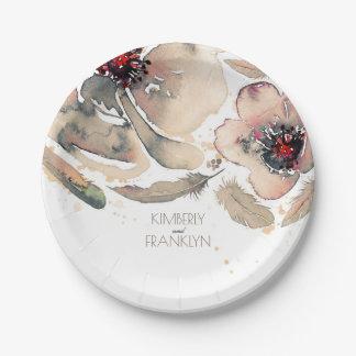 Boda floral de marfil de la acuarela de las plumas platos de papel