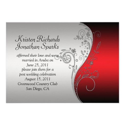 Boda floral de plata negro rojo del poste de los invitación personalizada
