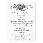 Boda floral del ancla del negro hermoso del invitación 12,7 x 17,8 cm