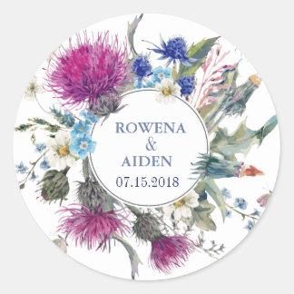 Boda floral del cardo escocés pegatina redonda
