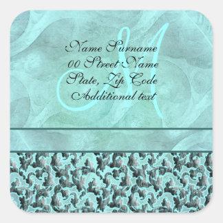 Boda floral del damasco del aquamarine del trullo pegatina cuadrada