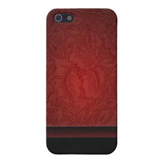 Boda floral del damasco elegante de Borgoña iPhone 5 Fundas