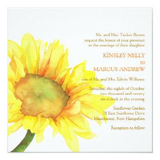 """Boda floral del girasol amarillo de la acuarela invitación 5.25"""" x 5.25"""""""