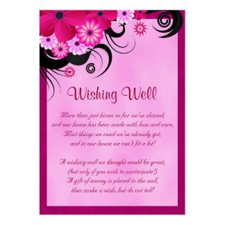 Boda floral del hibisco fucsia que desea tarjetas tarjetas de visita grandes