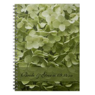 Boda floral del Hydrangea verde de Annabelle Spiral Notebooks