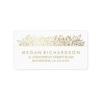 Boda floral del marco de la hoja de oro de la etiquetas de dirección