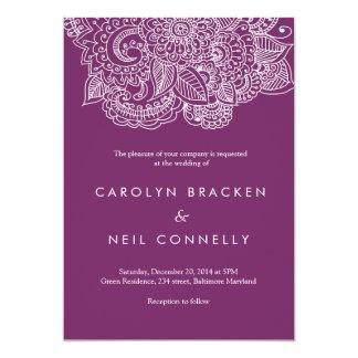 """Boda floral del modelo púrpura elegante de Paisley Invitación 5"""" X 7"""""""
