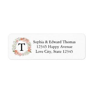 Boda floral del monograma del melocotón romántico etiquetas de remite