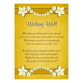 Boda floral del oro rústico que desea tarjetas tarjetas de visita grandes