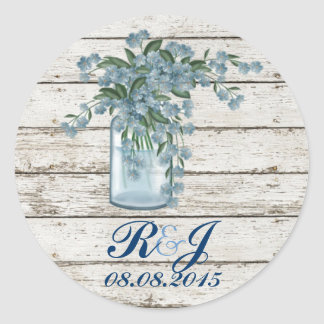 boda floral del país de la lila azul elegante del pegatina redonda