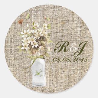 boda floral del país del wildflower elegante de la etiquetas redondas