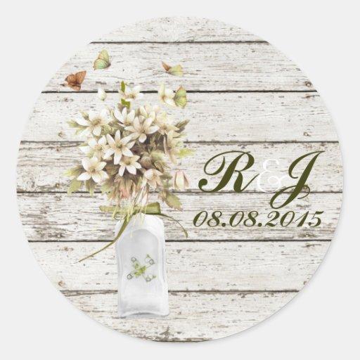 boda floral del país del wildflower elegante del pegatina redonda