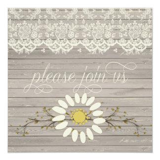 Boda floral del poste del cordón de madera rústico invitación 13,3 cm x 13,3cm