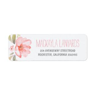 Boda floral del rosa de la flor de la acuarela etiquetas de remite