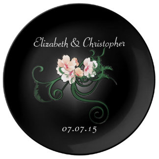Boda floral del rosa en colores pastel plato de cerámica