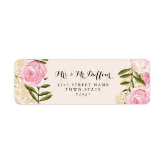 Boda floral del rosa moderno del vintage etiqueta de remitente
