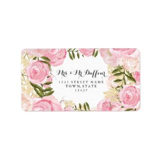Boda floral del rosa moderno del vintage etiquetas de dirección