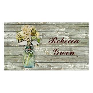 boda floral del tarro de albañil del país rústico tarjetas de visita