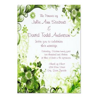 Boda floral del verde esmeralda de la primavera comunicados personales