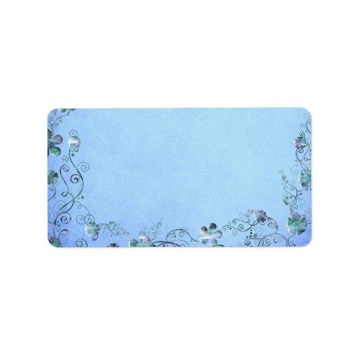 Boda floral del vintage azul etiquetas de dirección
